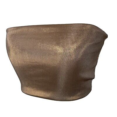 £4 • Buy Topshop Gold Shimmery Bandeau Crop Top Brand New With Tags Size S - UK 8 - 10