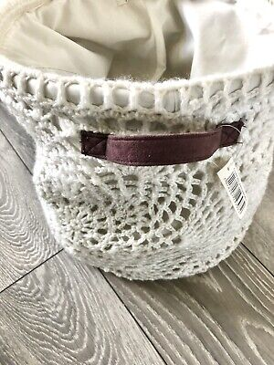 £9.50 • Buy White Large Crotchet Basket With Brown Suede Handles Handmade Planter Under Bed