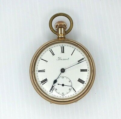 £5.19 • Buy Vintage Prescot Pocket Watch.  9ct Rolled Gold Case. Spares Or Repairs