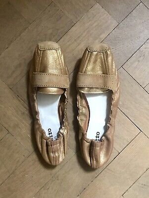 £45 • Buy REPETTO Gold Leather Ballet Flats Shoes UK6.5 39.5