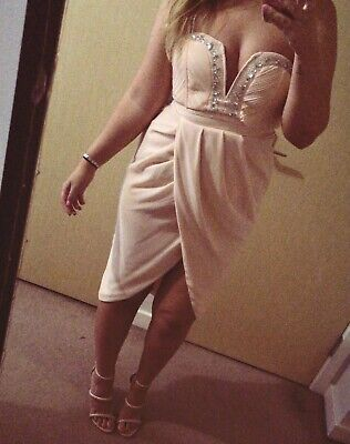 £7.50 • Buy ASOS TFNC Pink Dress Jewell Detail Prom Wedding Guest Size 12