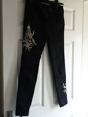£6 • Buy Next Black Skinny Jeans With Chinese Bird & Fliwers Sequins Size 12