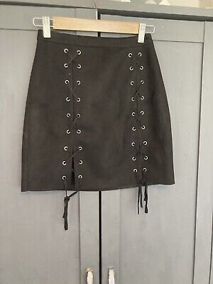 £0.99 • Buy Misguided Faux Suede Rock Chic Sexy Black Lace Up Halloween Skirt Size 6-8