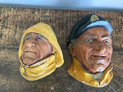 £5.90 • Buy 2 X Vintage 60s Bossons Chalkware Wall Hanging Heads Sea Captain & Lifeboat Man