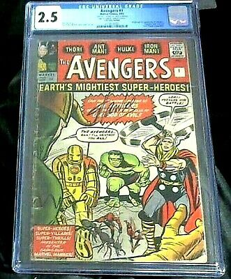£730 • Buy THE AVENGERS #1 CGC 2.5 Signed Stan Lee Verified (9/1963)Marvel Comic White Pgs.