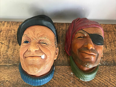 £4.60 • Buy 2 X Vintage 60s Bossons Chalkware Wall Hanging Heads Boat Man & Pirate/ Smuggler