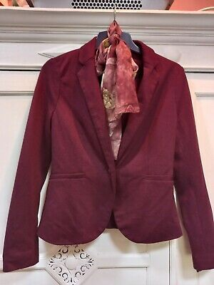 £2.50 • Buy New Look Womens Burgundy Blazer And Matching Scarf Size 8 Worn Once Polyester