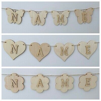 £0.99 • Buy Personalised Wooden Bunting Make Your Own Bunting Plywood With Letters 31 Design
