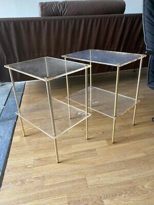 £50 • Buy Pair Of Mid Century Perspex Brass Effect Side Tables