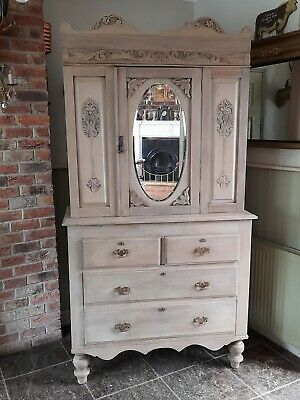 £395 • Buy Antique French Linen Press Mirrored Cupboard Drawers  Limed Waxed Cream,grey