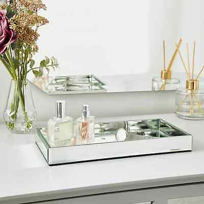 £14.99 • Buy Silver Mirror Tray Vanity Perfume Makeup Candle Tray Plate Rectangle 28CM