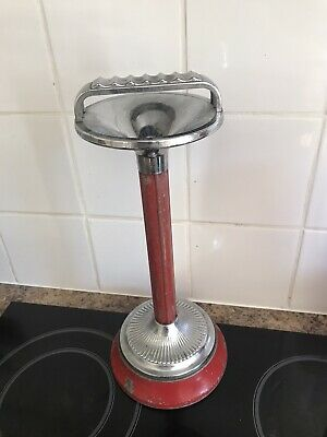 """£9.99 • Buy Ianthe Retro Red And Chrome Finish Cigarette Ashtray Stand 14"""" Tall"""