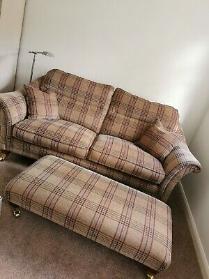 £999 • Buy Parker Knoll 2 Seater Burghley Checked Large Sofa With Xlarge Foot Stool Vgc