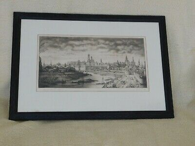 £85 • Buy Finely Detailed Signed Russian Engraving Of 18th Century Moscow