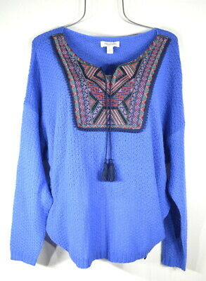 £13.07 • Buy New Women's L Blue Embroidered Tie Neck Peasant Top Blouse NWT