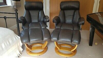 £100 • Buy  Two Ekornes Stressless Chelsea Leather Reclining Chairs Copy & Footstools