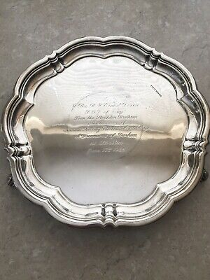 £849.99 • Buy HUGE And Very Heavy (1.04 Kg) Solid Sterling Silver Antique Salver Tray