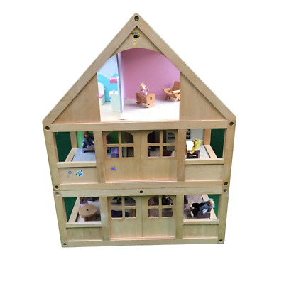 £79.99 • Buy Early Learning Centre ELC 3 Storey Wooden Dolls House With Furniture & 7 People