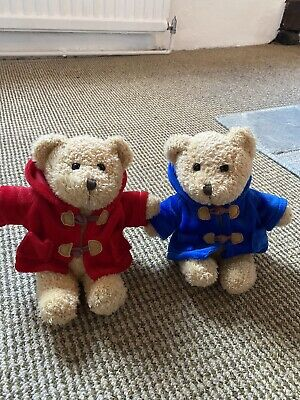 £13 • Buy Keel Toys Simply Soft Collection Duo Of Teddys In Red And Blue Duffle Coats