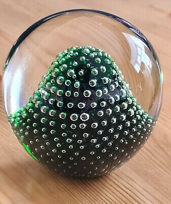 £15 • Buy 1960's HOLMEGAARD PAPERWEIGHT ~ Green Controlled Bubble ~ Signed