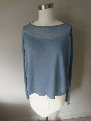 £34 • Buy Sarah Pacini Slate Blue Linen Top/sweater One Size- New With Tags