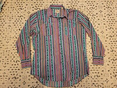 £10.99 • Buy Vintage ELY 80s Pearl Snap Button Shirt Size M