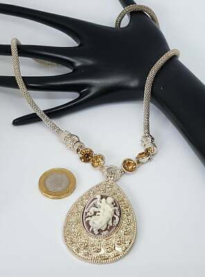 £2.99 • Buy Gold Tone Necklace With Champagne Stones And Cameo. Velvet Gift Pouch (N16)