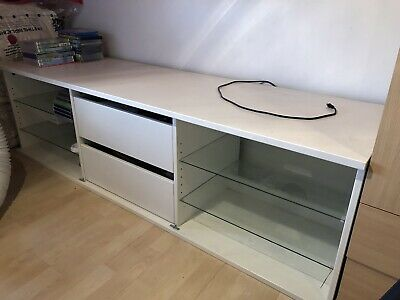 £25 • Buy White IKEA TV Cabinet Stand Unit, Glass Shelves  And 2 Pull Out Drawers.