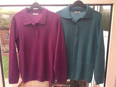 £6 • Buy 2 X Damart Jumpers Collared Purple/ Green Ladies Size Uk 14/16 New Never Worn