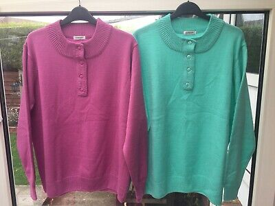 £6 • Buy 2 X Damart Jumpers Lilac/ Green Ladies Size L Uk 18/20 New Never Worn