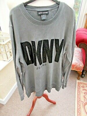 £9.99 • Buy DKNY  JEANS Grey Sweatshirt With Black Sequin Detail Size 14/16/Large *Genuine*