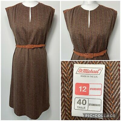 £24.99 • Buy Vintage ST MICHAEL Knitted Dress Size 12 Belted Tweed Brown