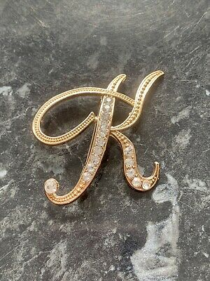 £4 • Buy New Large Gold Initial / Letter Brooch/ Pin With Crystals