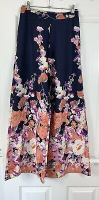 £5.99 • Buy Ladies Size 6 RIVER ISLAND Blue Print Extra Wide Palazzo Trousers