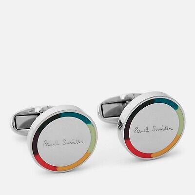 £5.86 • Buy NWT $150 Paul Smith Artist Stripe Edge Round Cufflinks In Silver. Yours For?