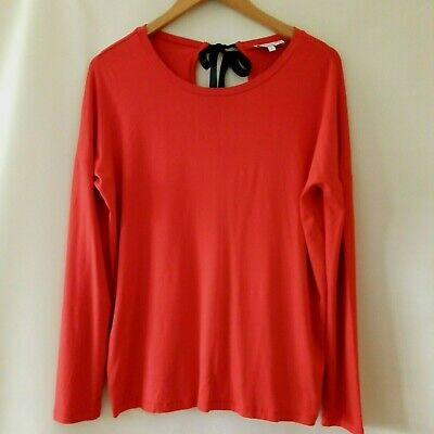 £2.49 • Buy Warehouse Red Top Long Sleeve Loose Fit Stretch Ribbon Tie Ladies Size 10