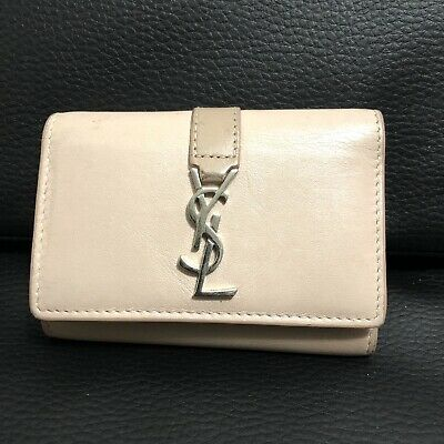 AU34 • Buy Authentic YSL Yves Saint Laurent Signature Foldable Key Wallet - Made In Italy