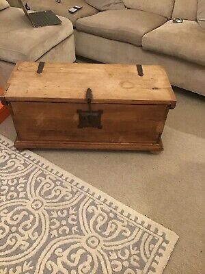 £63 • Buy Wooden Trunk Chest Coffee Table On Wheels