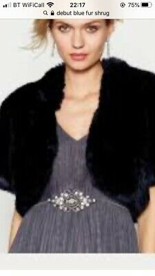 £10 • Buy Faux Fur Navy Shrug Size L Bought For Wedding But Never Worn.