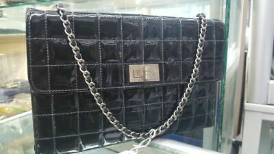 AU299 • Buy Chanel Black Square Quilted Chocolate Bar Mademoiselle Flap Bag