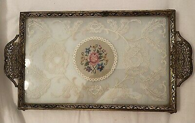 £30 • Buy Vintage Dressing Table Vanity Tray Hand Embroidered Flowers & Lace Perfect Order