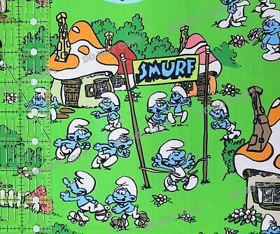 £18.32 • Buy Custom 100% Cotton Woven Large Scale Smurfs TV Show By The 1/2 Yard SHIPS FAST