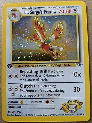 $45 • Buy 2000 Pokemon Gym Heroes Lt. Surge's Fearow Holo 1st Edition 7/132