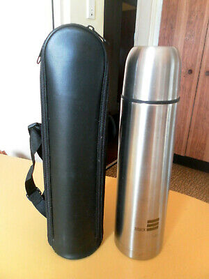 AU5.99 • Buy 1990s VINTAGE PROMO STACK STAINLESS STEEL THERMOS FLASK WITH CARRY CASE 29CM Hgt