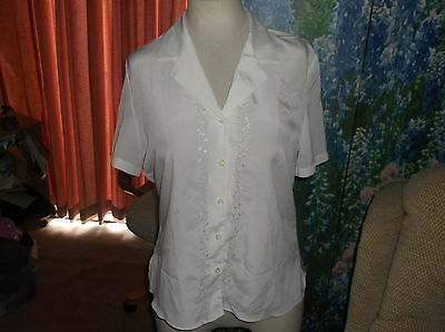 £0.99 • Buy Ladies Top BRITISH HOME STORES Ivory Short Slvs Collar Embroidered Blouse Sz 14