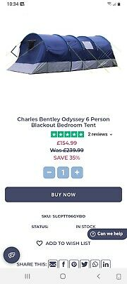 £9.99 • Buy Charles Bentley Odyssey 6 Person Navy Blackout Tent Bedroom Living Sections