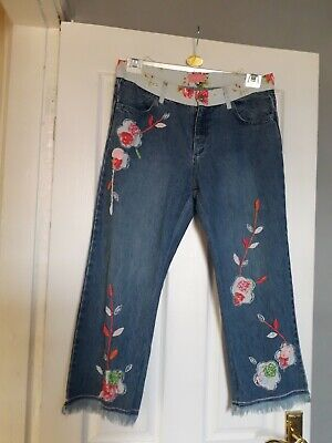 £3.50 • Buy PER UNA M&S BLUE DENIM JEANS Size 12 Long Embroidered Floral Hippy Funky