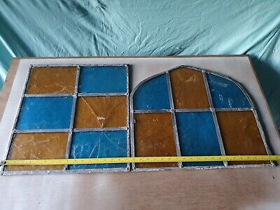 £11 • Buy Antique Reclaimed Coloured Lead Leaded Light Stained Glass Windows Panels X 2