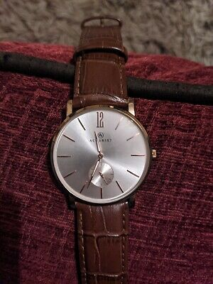£1500 • Buy Accurist Men's Brown Leather Strap Watch Round Rose Gold Plated. Please Help ❤️