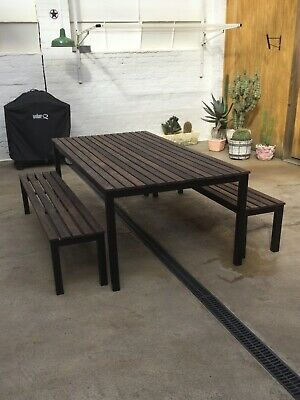 AU800 • Buy 3pc Setting, Steel And Timber Outdoor Dining Table With Bench Seats